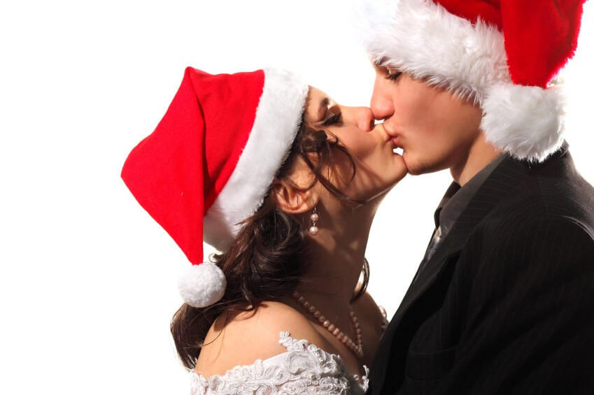 bride and groom Happy dancing christmas young