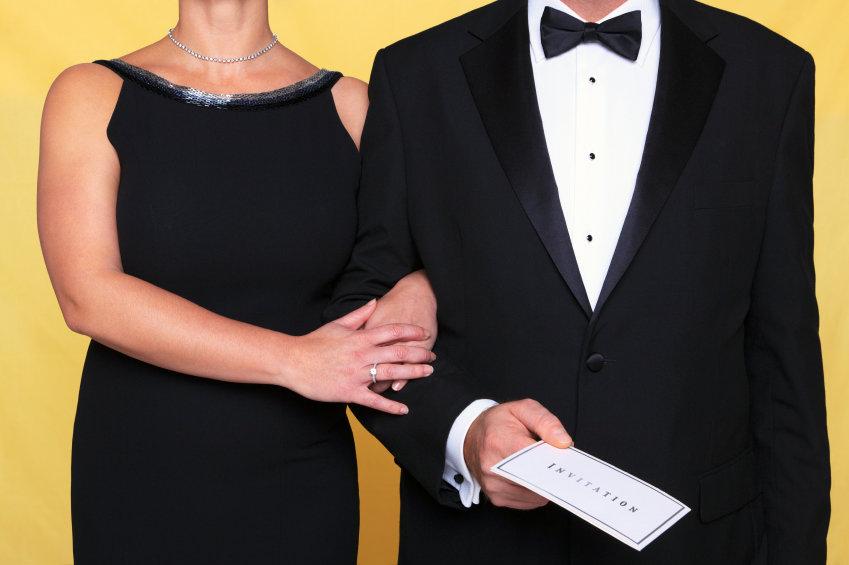 Black tie evening dress invitation