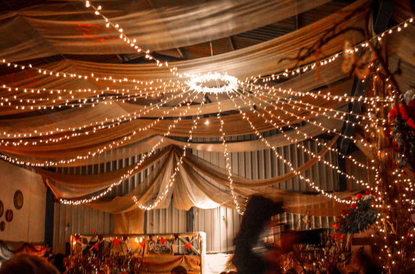 Beautiful fairy lights at a party