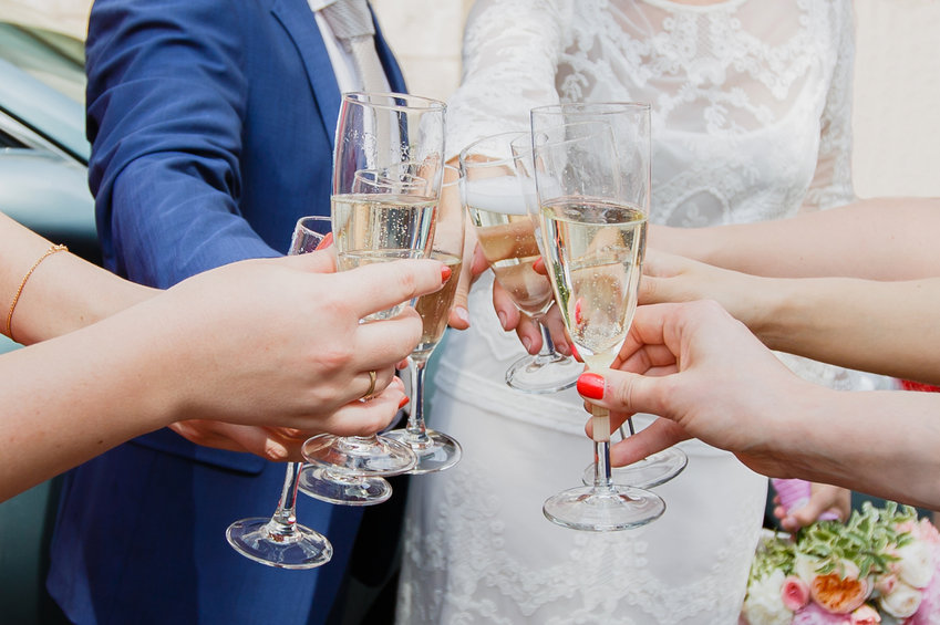 Wedding toast with friends
