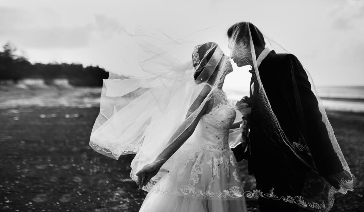 Bride and groom wedding photo.