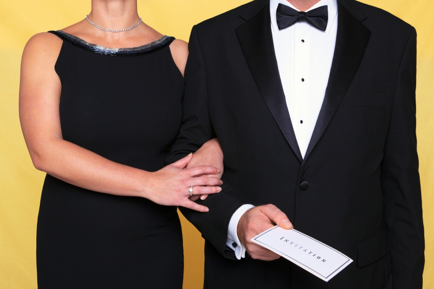 Photo of a couple in black tie evening wear