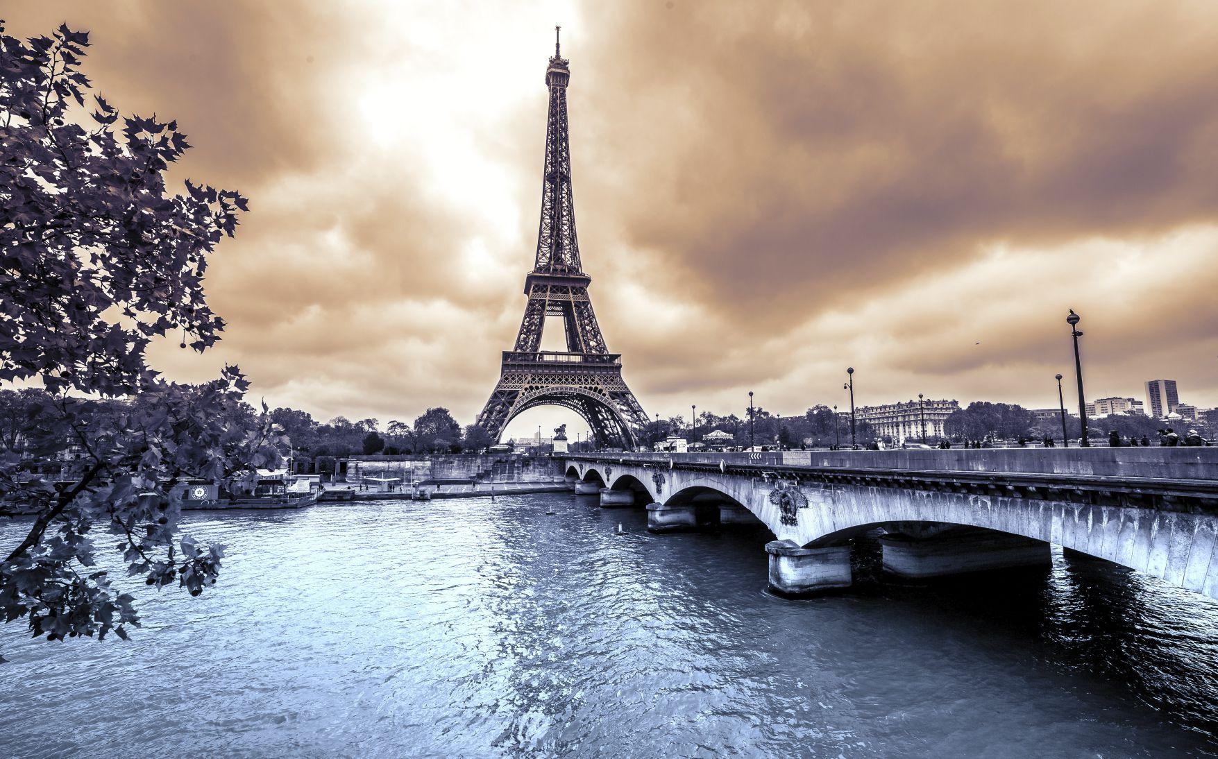 Eiffel Tower from Seine. Winter rainy day in Paris